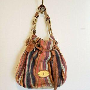 Fossil Shoulder Bag Purse Textile Woven Cinch